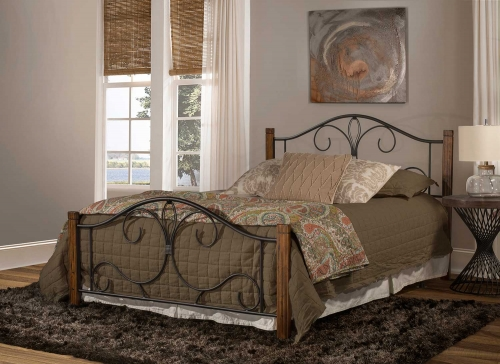 Destin Bed - Black/Brushed Oak