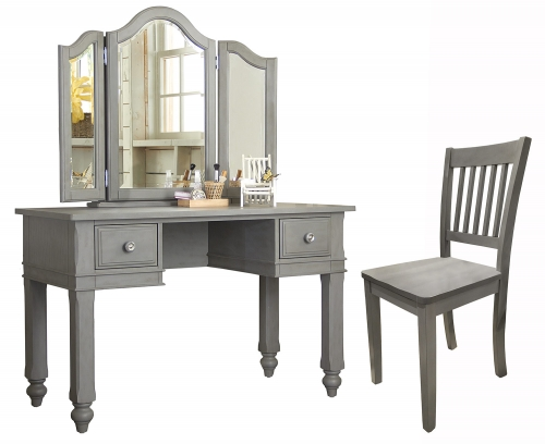 NE Kids Lake House Writing Desk with Vanity Mirror and Chair - Stone