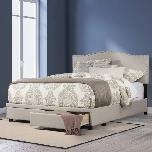 Kiley Upholstered Storage Bed - Fog Fabric