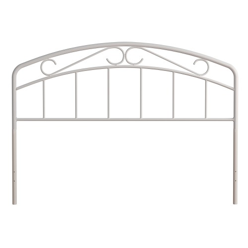 Jolie Metal Headboard with Arched Scroll Design - White