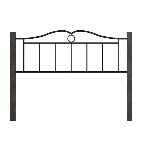 Dumont Metal Headboard with Double Arched Scroll Design - Textured Black/Brushed Charcoal