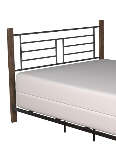 Raymond Metal Headboard - Textured Black/Weathered Dark Brown