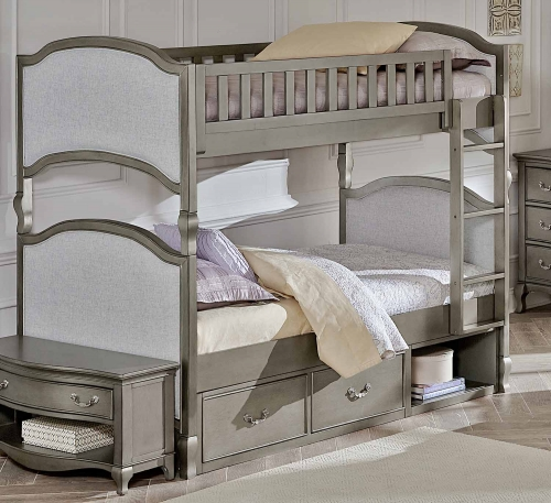 Kensington Victoria Twin Over Twin Bunk With Storage - Antique Silver