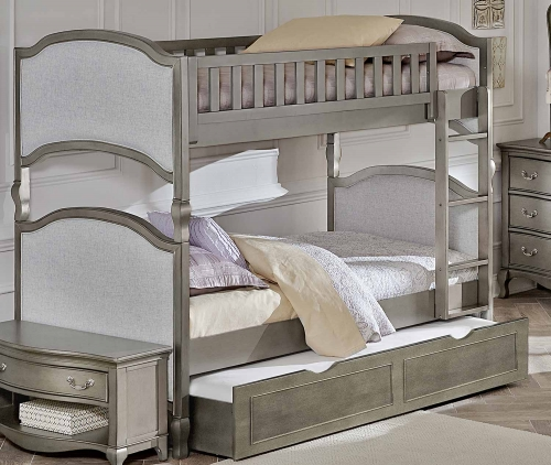 Kensington Victoria Twin Over Twin Bunk With Trundle - Antique Silver