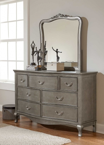 Kensington Dresser with Mirror - Antique Silver