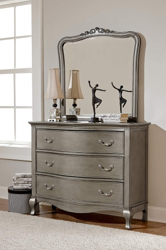 Kensington 3 Drawer Single Dresser with Mirror - Antique Silver