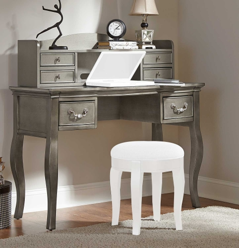 Kensington Writing Desk with Hutch - Antique Silver