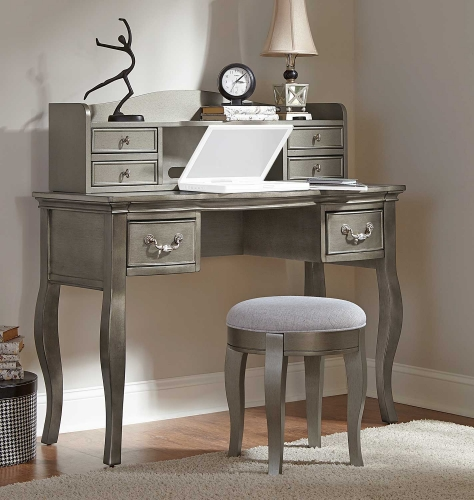 Kensington Writing Desk with Hutch and Stool - Antique Silver