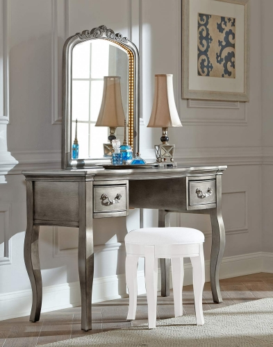 Kensington Writing Desk with Vanity Mirror - Antique Silver