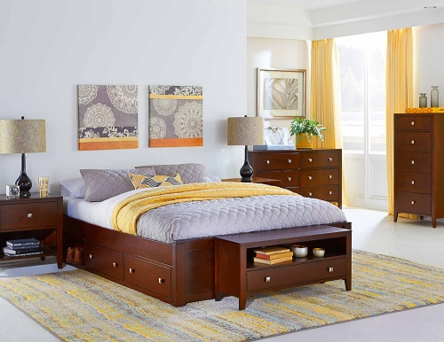 Pulse Platform Bedroom Set With Storage - Cherry
