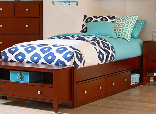 Pulse Platform Bed With Storage - Cherry