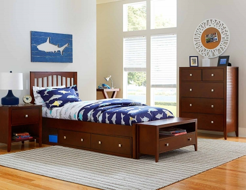 Pulse Mission Bedroom Set With Storage - Cherry