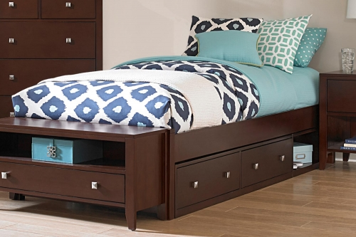 Pulse Platform Bed With Storage - Chocolate