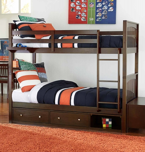 Pulse Twin Over Twin Bunk With Storage - Chocolate