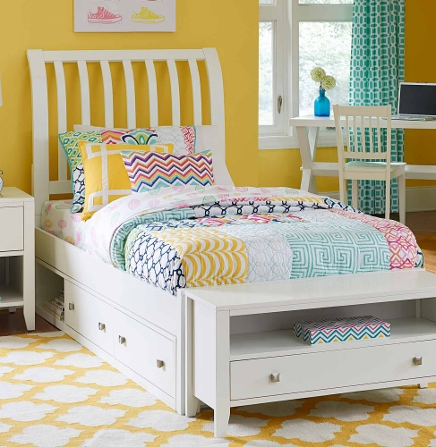 Pulse Rake Sleigh Bed With Storage - White