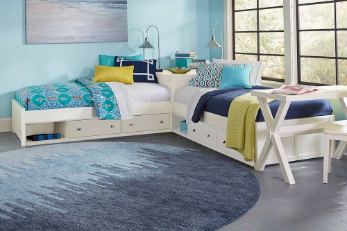 Pulse L-Shaped Bed With Double Storage - White