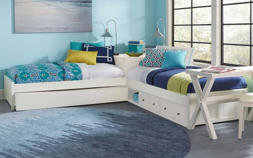 NE Kids Pulse L-Shaped Bed With Storage and Trundle - White