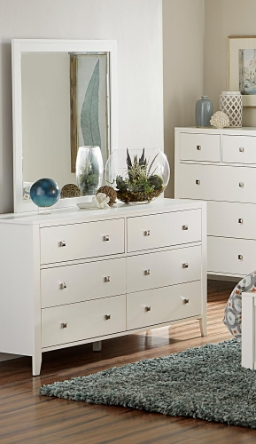 Pulse 6 Drawer Dresser And Mirror - White