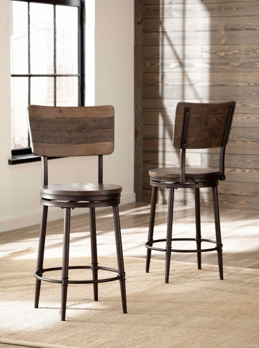 Jennings Swivel Counter Stool - Walnut Wood/Brown Metal