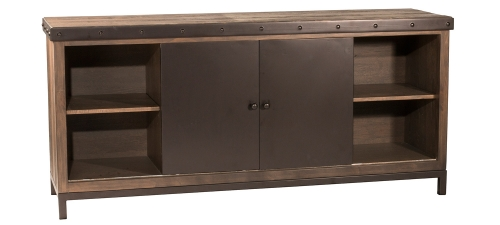 Jennings Entertainment Center - Walnut Wood/Brown Metal