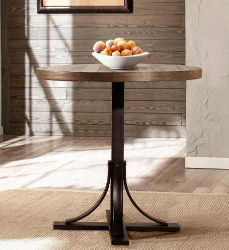 Jennings Round Counter Height Dining Table - Walnut Wood/Brown Metal