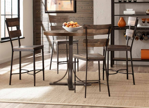 Jennings 5 Piece Counter Height Dining Set with Non-Swivel Counter Height Stools - Walnut Wood/Brown Metal
