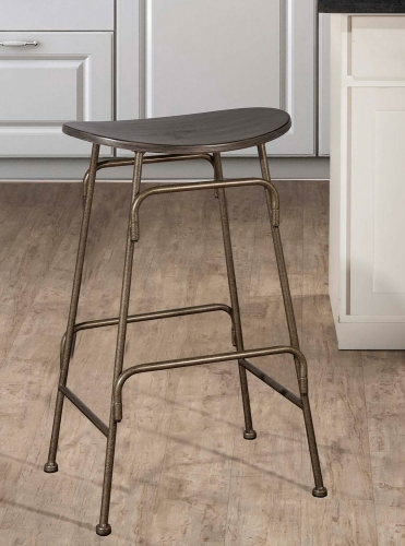 Mitchell Non-Swivel Backless Counter Stool - Black Wood/Bronze Metal