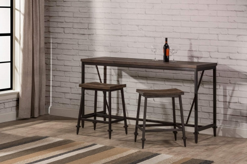 Trevino 3-Piece Counter Height Table Set - Walnut/Brown