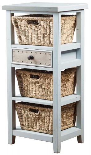 Tuscan Retreat Basket Stand with 3-Basket - Powder Blue