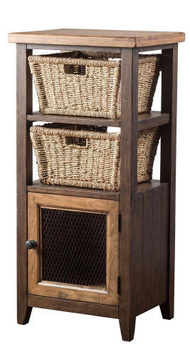 Tuscan Retreat Basket Stand with 2-Baskets - Faded Black