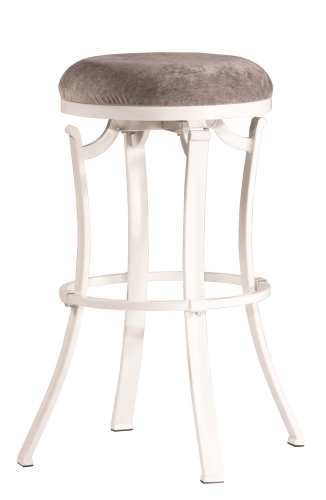Kelford Swivel Backless Bar Stool - White - Paver Fabric