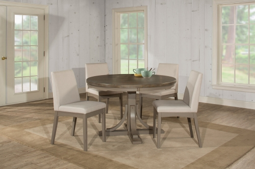 Clarion 5-Piece Round Dining Set with Upholstered Chairs - Gray - Fog Fabric