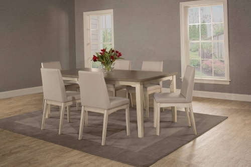 Clarion 7-Piece Rectangle Dining Set with Upholsted Chairs - Sea White - Fog Fabric