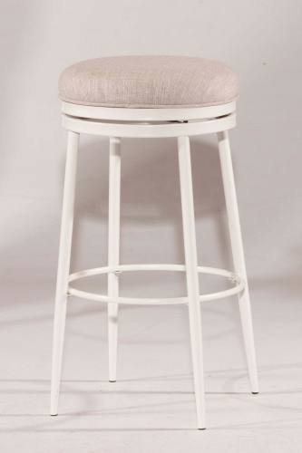 Aubrie Swivel Backless Bar Stool - White - Silver Fabric
