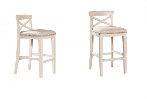Bayview Non-Swivel Bar Stool - White Wirebrush - Silver Fabric