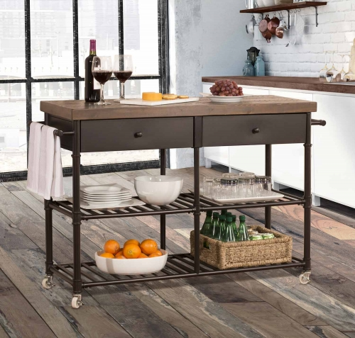 Casselberry Kitchen Cart - Brown/Distressed Walnut