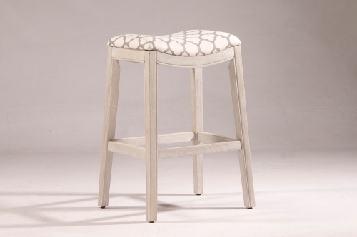 Sorella Non-Swivel Counter Stool - White - Trellis Ash Fabric