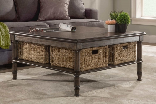 Seneca Coffee Table with 4 Baskets - Walnut/Natural Seagrass