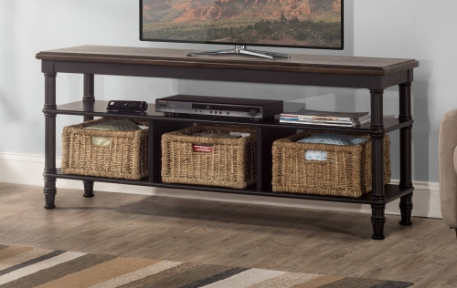 Seneca Storage Console with 3 Baskets - Waxed Black/Walnut/Natural Seagrass