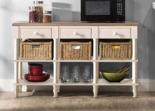 Seneca 3-Drawers Sofa Table with 3 Baskets - Driftwood/Sea White/Natural Seagrass