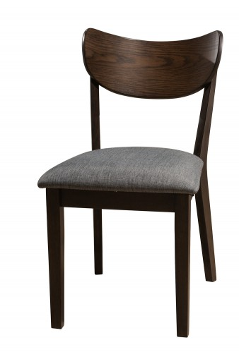 San Marino Midmod Dining Side Chair - Chestnut/Gray Fabric- Set of 2