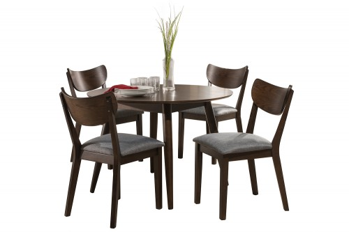 San Marino Midmod Wood 5-Piece Round Dining Set - Chestnut