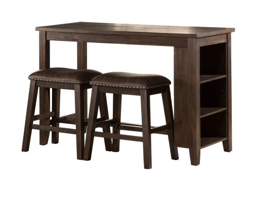 Spencer 3 Piece Counter Height Dining Set with Backless Counter Height Stools - Dark Espresso