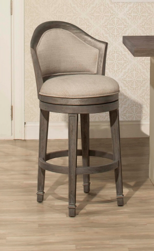 Monae Swivel Bar Stool - Dark Gray - Woven Gray Fabric