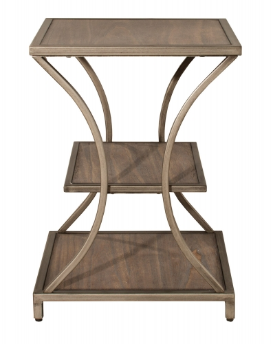 Crofton End Table - Brown-Gray/Silver Metal