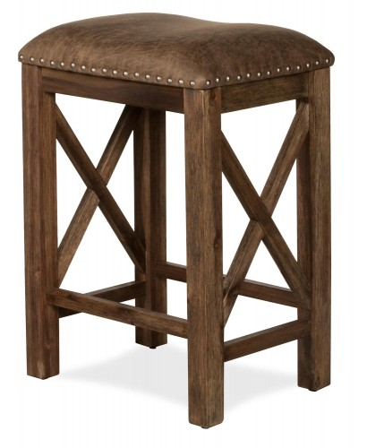 Willow Bend Stationary Counter Height Stool - Antique Brown Walnut