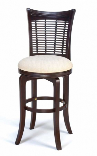 Bayberry Wicker Swivel Wood Counter Stool - Dark Cherry