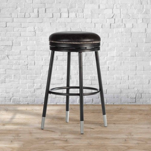 Valera Decorative Backless Metal Swivel Counter Height Stool - Black