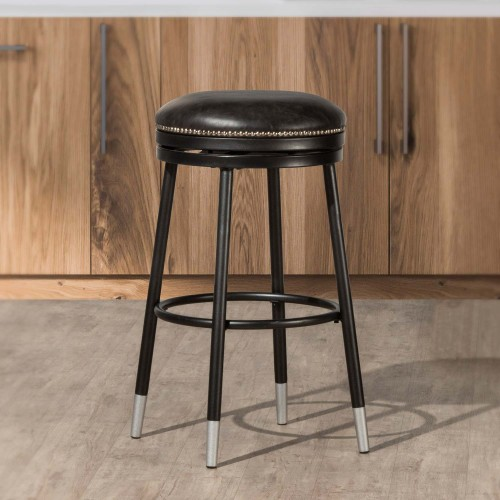 Valera Decorative Backless Metal Swivel Bar Height Stool - Black