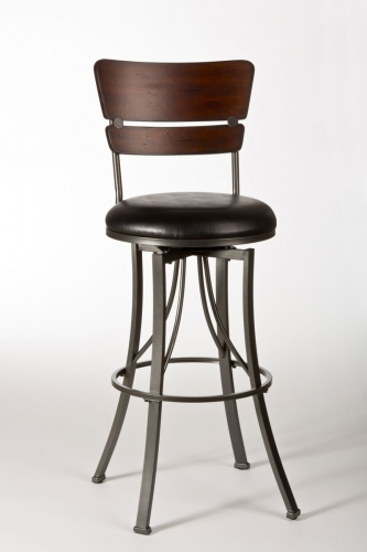 Santa Monica Swivel Counter Stool - Pewter/Distressed Cherry